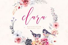 Clara • Watercolor Design Set by vuuuds on @creativemarket