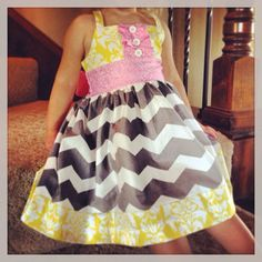 Pink, yellow and grey chevron dress on Etsy, $39.00