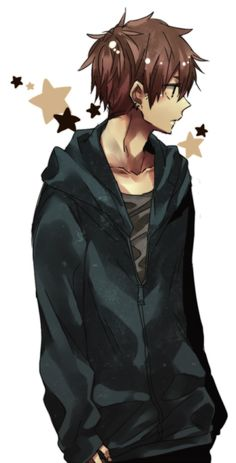 Boy with brown hair and blue hoodie (john) Brown Hair Anime Boy, Hot Anime Boy, Girl With Brown Hair, Cute Anime Guys, Anime Boys, Manga Boy, Boy Cartoon Characters, Anime Boy Zeichnung, Anime Guys Shirtless