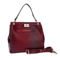 Alligator Print grab bag in red. Stunning printed grab bag by Acess London has a twist lock  fastening and adjustable and detachable shoulder strap. handbagandheel.com