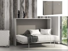 a672a9cb1335e1 Lit escamotable MALINA ouverture horizontale manuelle - 140x200cm - Blanc  gris