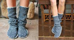 Un tutoriel photo complet pour faire de superbes pantoufles hautes à partir d'un tricot! Elles ont l'air siconfortables! Parfaites pour nos hivers tellement froids. Vous pourrez fouiller les placards de la maison à la recherche d'un vieux tricot qui