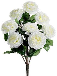"Camellia Silk Flower Bush in White3-4"" Blooms x 19"" Tall"