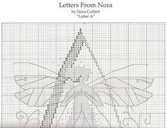 A pattern - Fantasy Cross Stitch, Cross Stitch Angels, Cross Stitch Letters, Just Cross Stitch, Cross Stitch Samplers, Cross Stitching, Alphabet, Stitch 2, Pattern Fashion