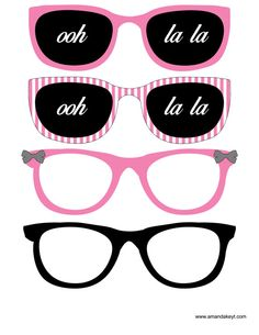 Glasses from Paris Hot Pink Printable Photo Booth Prop Set Barbie Paris, Valentines Photo Booth, Paris Party Decorations, 3d Templates, Photobooth Props Printable, Barbie Birthday, Paris Theme, Party Props, Party Ideas