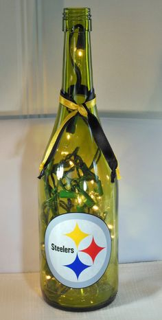 Hey, I found this really awesome Etsy listing at https://www.etsy.com/listing/111522267/pittsburgh-steelers-recycled-wine-bottle
