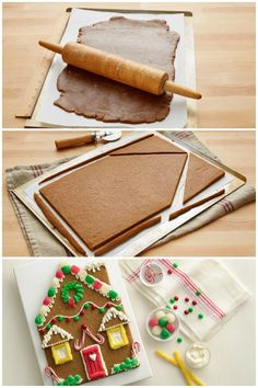 If a gingerbread house seems too daunting, this easy cookie version is an awesome way to focus on the creative fun without the stress of building an entire house! All you need is gingerbread cookie mix, butter, eggs, frosting and your decorations. Christmas Goodies, Christmas Desserts, Christmas Treats, Holiday Treats, Holiday Recipes, Christmas Mix, Italian Christmas, Gingerbread Cookie Mix, Gingerbread House Parties