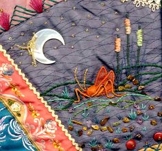 I ❤ crazy quilting & ribbon embroidery . . . Fragile Beauty - Cricket detail ~By CathyB