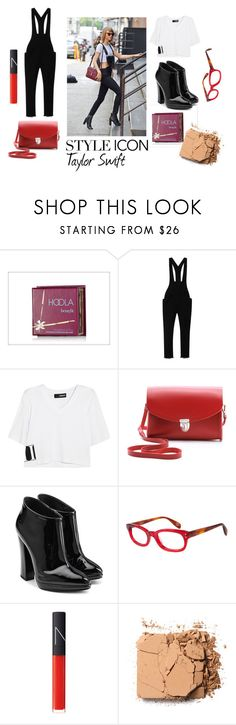 """""""Taylor Swift : Steal The Look!"""" by aichi ❤ liked on Polyvore featuring Benefit, Isabel Marant, DKNY, The Cambridge Satchel Company, Giuseppe Zanotti, Starling Eyewear and NARS Cosmetics"""