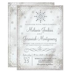 #Winter Wonderland Snowflake Wedding Invitations - #saturday #saturdays