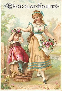 Beautiful Victorian Girls & Pink Roses Antique Vintage French Trade Card