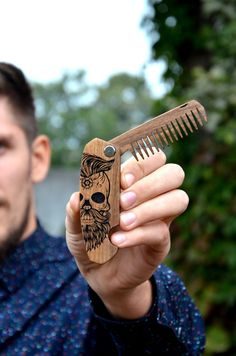 Sugar skull Folding comb Beard comb Personalized engraved Hair comb Mens gift…