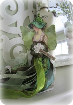 Beautiful ribbon Doll for St Patrick's Day!
