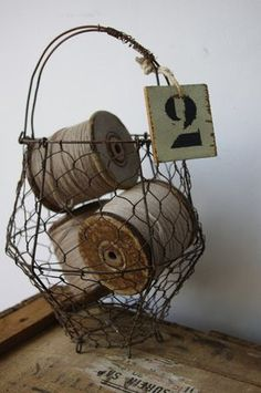 egg basket with spools of thread