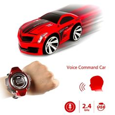 [$11.86] 2.4GHz Mini RC Car Voice Command Car Smart Watch Remote Control Sports Car Toy(Red)