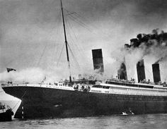 www.insideturnerscorner.wordpress.com  The Titanic anchored off Cherbourg on 10 April 1912 (© Action Press/Rex Features)