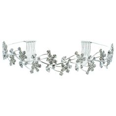 Kate Marie 'naomi' Rhinestones Crown Tiara Headband in Silver ($28) ❤ liked on Polyvore featuring jewelry, grey, jewelry & watches, rhinestone jewelry, silver jewelry, rhinestone crown, silver jewellery and crown jewelry