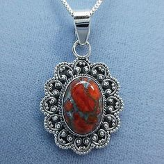 Mojave Red Orange Turquoise Oval Ornate Pendant Necklace Sterling Silver
