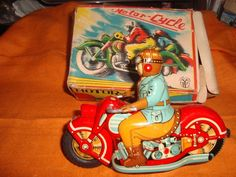 Old Vintage Tin Friction Power Motorcycle Toy with Box from Japan 1955 | eBay