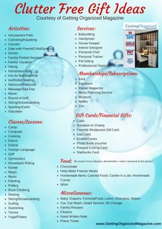 clutter free gifts ideas #infographic #checklist #printable