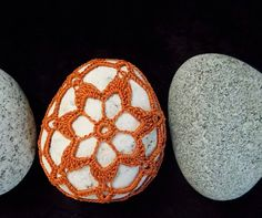 Orange Lace Crocheted Beach Stone, Maine Island, Keepsake, Star flower  http://www.etsy.com/shop/GreenDigsCrochet