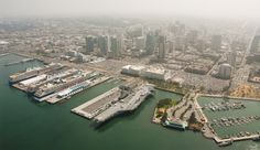 Aerial view of San Diego Bay and Downtown