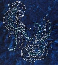 Japanese Embroidery Designs Jellyfish Sashiko Fabric Panel Pre-printed on Kaufman Indigo Batik Hand Embroidery Patterns, Embroidery Art, Machine Embroidery Designs, Embroidery Stitches, Embroidery Supplies, Eyebrow Embroidery, Embroidery Store, Art Patterns, Embroidery Jewelry