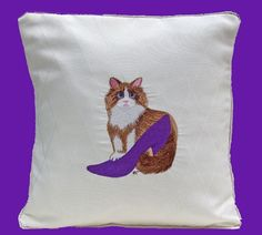 Pillow w Cat in Purple Shoe Embroidery by sewfinethreads on Etsy, $55.00