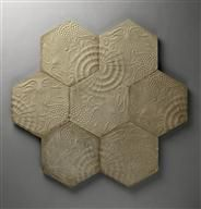 "Antoni Gaudi (1852-1926) - ""Hydraulic Earth"" Hexagonal Floor Tiles. Glazed Pottery Tile. Circa 1900."