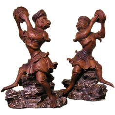 Pair of Carved and Painted Banjo Playing Monkey Figures