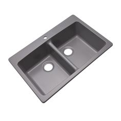 Mont Blanc Waterbrook Dual Mount Composite Granite 33 in. 1-Hole Double Bowl Kitchen Sink in Grey