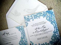 Framed Lace Wedding Invitation Suite