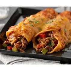 Better-than-ever Beef Enchiladas With Extra Lean Ground Beef, Green Pepper, Red Pepper, Salsa, Cheese, Zesty Italian Dressing, Flour Tortillas, Chopped Cilantro