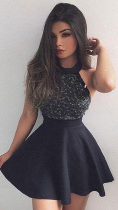 little black dresses,short homecoming dresses,black homecoming dresses with beaded,Fashion Graduation Dress,Beading Party Dress,prom dresses