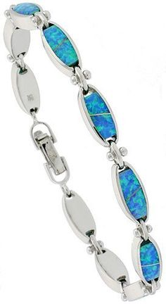 Sterling Silver Synthetic Opal Bracelet with Oval Links, 7 1/4 inch long Sabrina Silver. $153.35