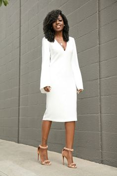 White Bell Sleeves Midi Dress
