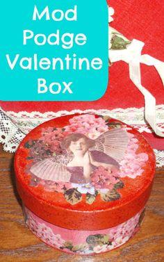 Mod Podge Valentine Box DIY with Sparkle Mod Podge!