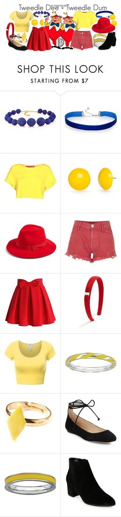 """""""Tweedle Dee + Tweedle Dum"""" by leslieakay ❤ liked on Polyvore featuring Kenneth Jay Lane, Simons, Kim Rogers, Brixton, River Island, Chicwish, Salvatore Ferragamo, Stacks and Stones, Karl Lagerfeld and Franco Sarto"""