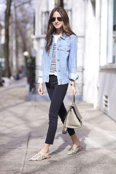 mule flat estampa jaqueta jeans