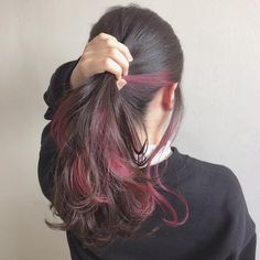 Burgundy highlights - LadyStyle in 2020 Hair Color Streaks, Ombre Hair Color, Cool Hair Color, Hair Highlights, Burgundy Highlights, Hidden Hair Color, Tmblr Girl, Underlights Hair, Aesthetic Hair