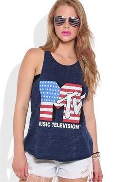 Deb Shops Deep Armhole Tank Top with American Flag MTV Screen $14.25