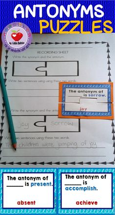 This set of 48 antonyms cards helps students increase their vocabulary and provides perfect practice for standarized tests. The vocabulary words are aimed at third graders but they can be useful for other grades too.