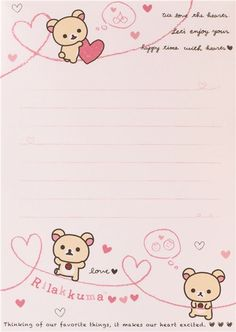 pink Rilakkuma bear with rosa hearts Note Pad con pegatinas 5