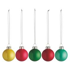 ANNGARSK Set of 12 multi-coloured glass Christmas tree decorations