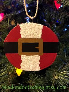 Santa Suit Christmas Ornament painted on a Natural Wood Slice, Glittered Faux Fur Trim by BlueLondonTrading on Etsy