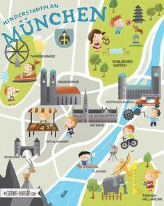 Kinderstadtplan München - Munich Illustrated Map - Discover Munich's best places for Kids in Munich - illustrated by Carmen Eisendle - katelein #MunichMap #Illustration #Illustrated Map #Hellabrunn #DeutschesMuseum #Frauenkirche #Oktoberfest #EnglischerGarten #Viktualienmarkt #Rathaus #Flaucher