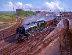 Railway Paintings by John Austin FGRA...... Stanier pacific 46222 'Queen Mary' heads north with The Mid-Day Scot.......17