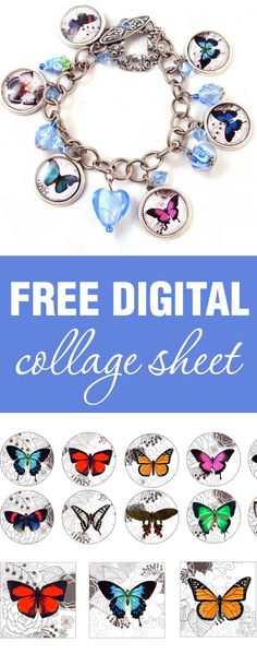 Download, print, create - Colourful butterflies on Black & White Digital Collage sheet are free for personal projects and small commerical use | beadingtutorials.com.au