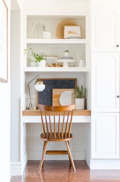 Summer Home Tour | Relaxed Modern Farmhouse Kitchen - A Burst of Beautiful- built in kitchen desk