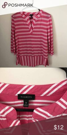 88002c1934dd8 Talbots Pink and white Striped Tunic Top Size M. Talbots very comfortable  Pink and white